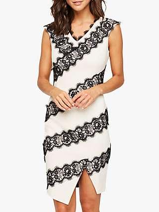 Damsel in a Dress Martyne Lace Dress, White/Black