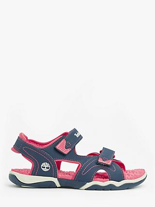 Timberland Children's Adventure Seeker Riptape Sandals, Pink/Navy