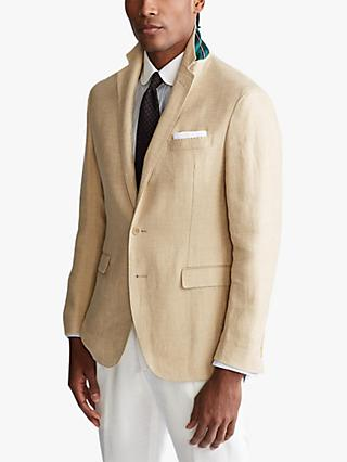 Polo Ralph Lauren Mini Herringbone Linen Blazer, Camel/Cream