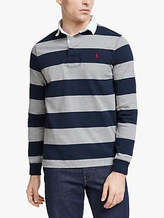 Polo Ralph Lauren Stripe Rugby Polo Shirt, League Heather/French Navy