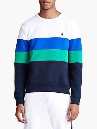 Polo Ralph Lauren Colour Block Sweatshirt, White/Multi