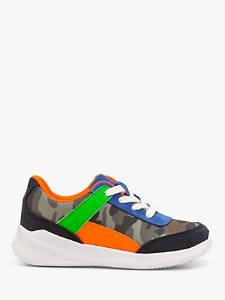 Mini Boden Colourblock Trainers, Herb Green Mini Camo
