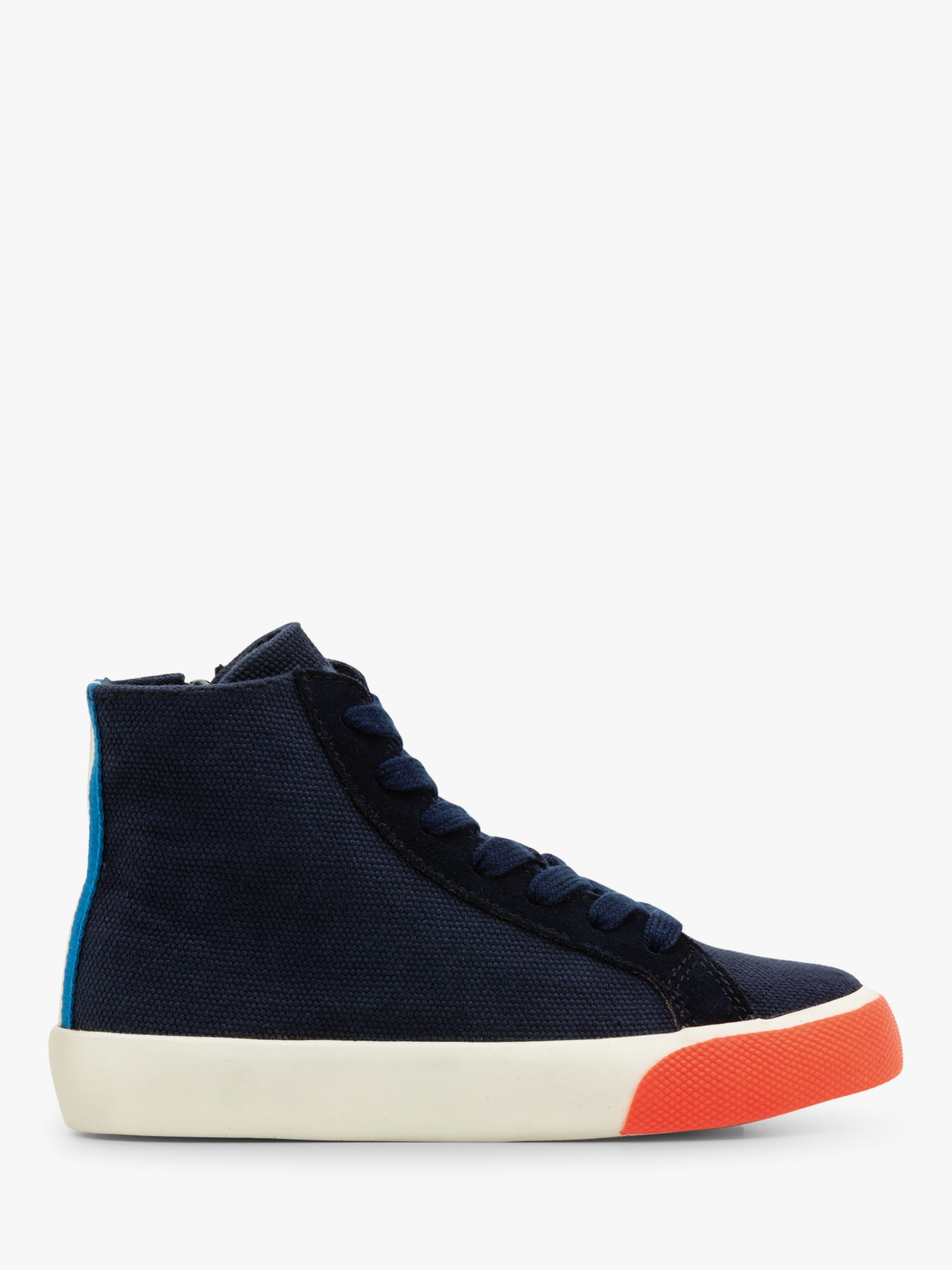 Mini Boden Mini Boden Contrast Canvas High Top Trainers, Navy Blue