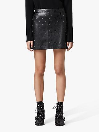 AllSaints Lyra Star Leather Mini Skirt, Black
