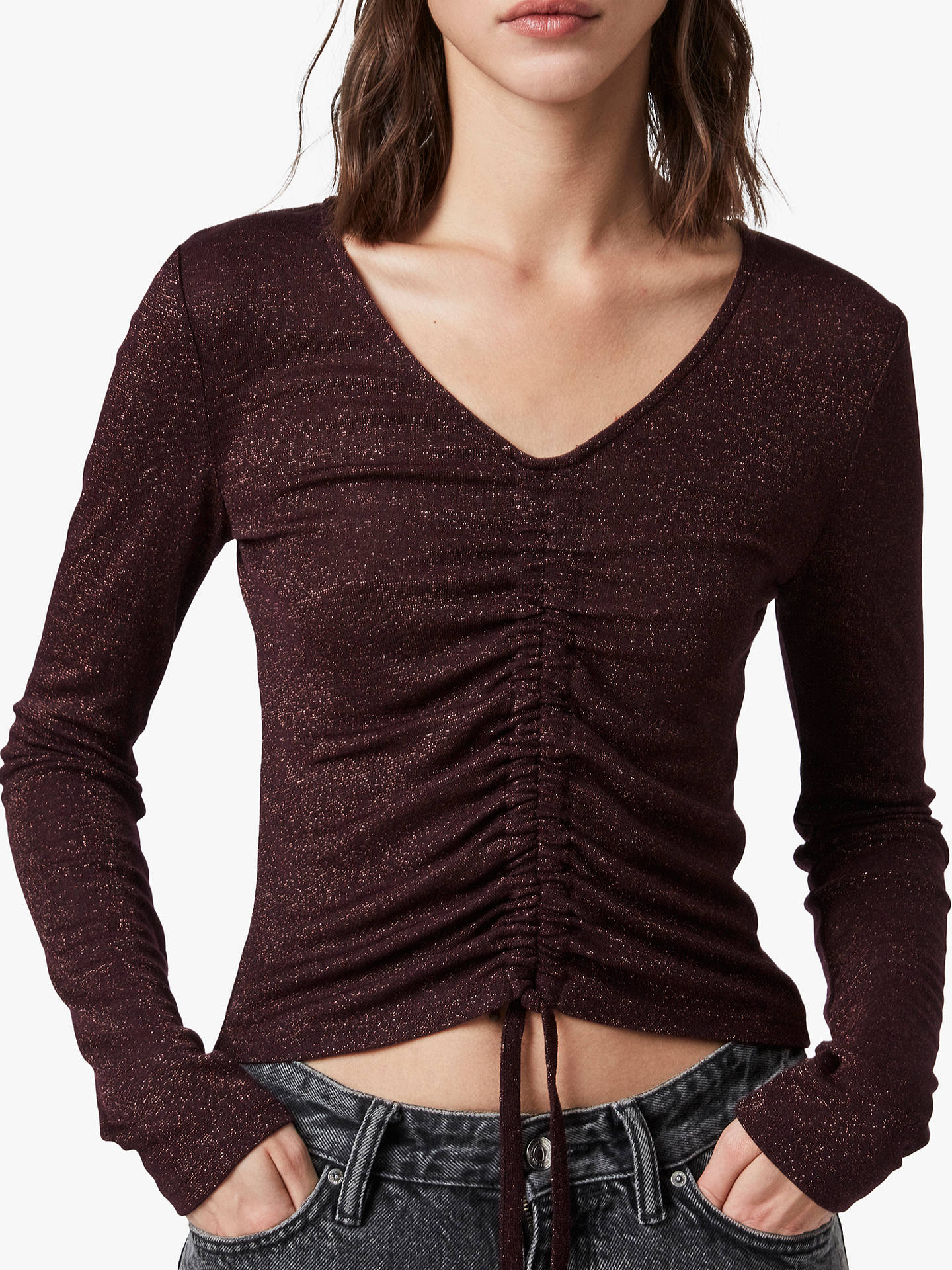 Buy AllSaints Rina Glitz Drawcord Front Long-Sleeve T-Shirt, Copper Red, M Online at johnlewis.com