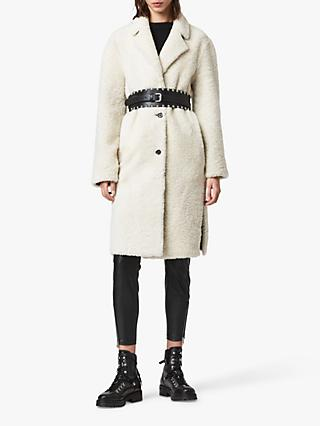 AllSaints Tia Reversible Shearling Coat, Chalk White/Taupe