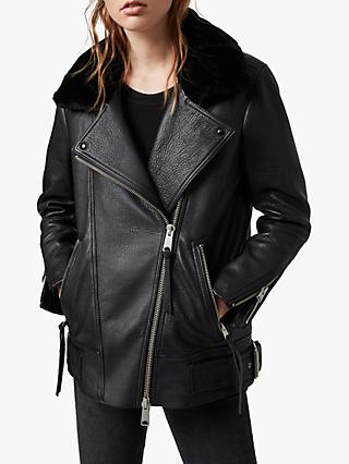 AllSaints Maizie Shearling Collar Leather Biker Jacket, Black