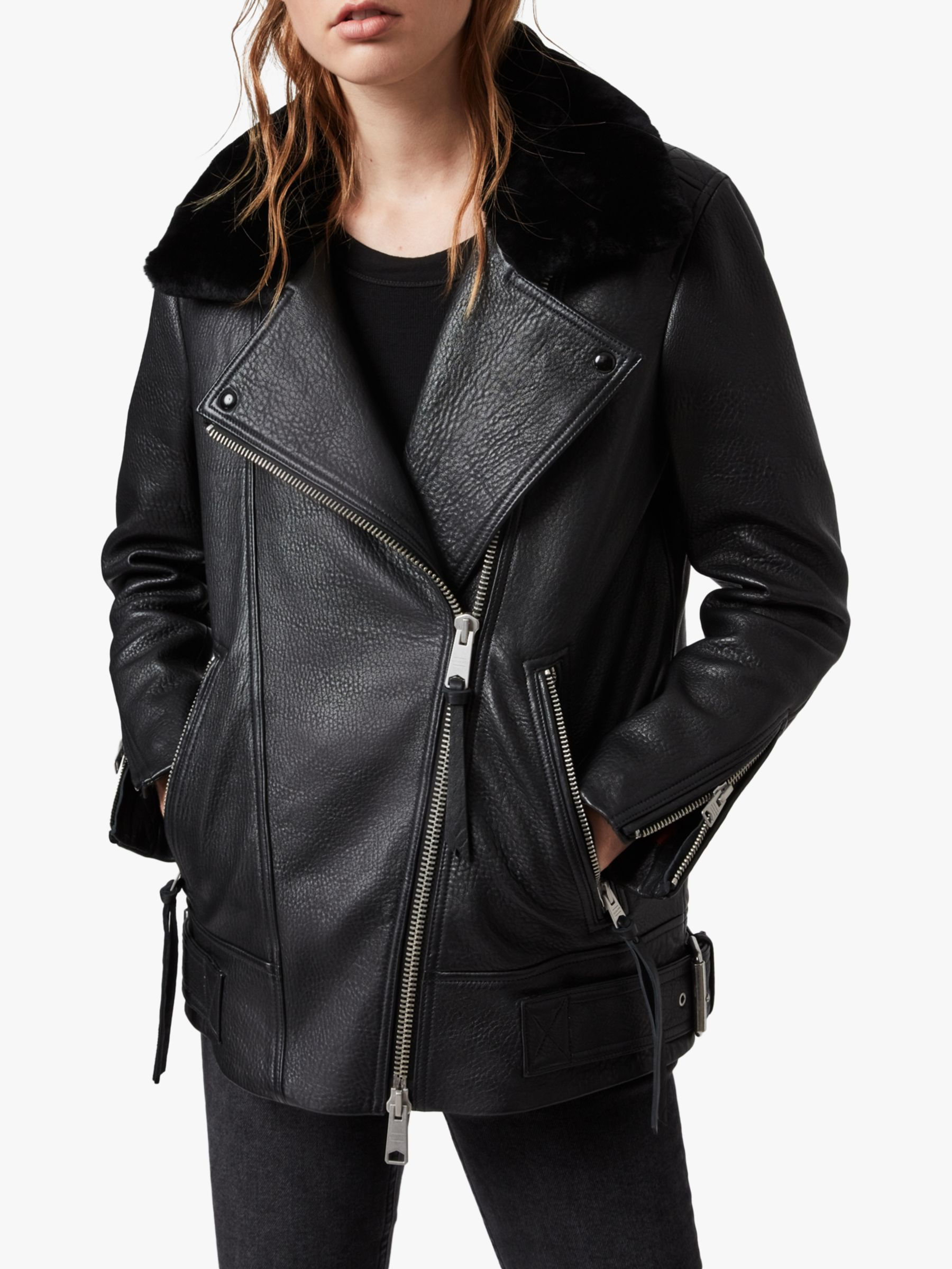 AllSaints AllSaints Maizie Shearling Collar Leather Biker Jacket, Black