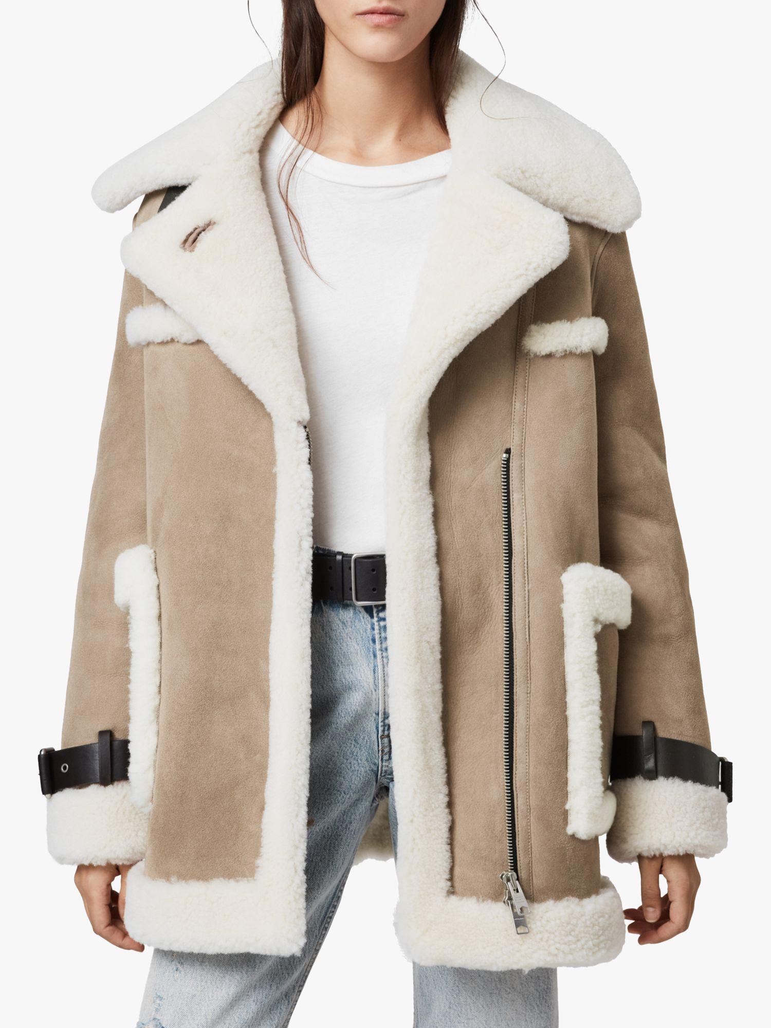 AllSaints Bronx Aviator Shearling Coat, TaupeChalk White at