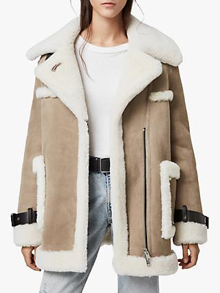 AllSaints Bronx Aviator Shearling Coat, Taupe/Chalk White