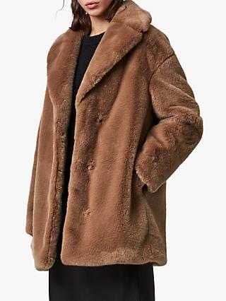 AllSaints Amice Faux Fur Jacket, Hazelnut Brown