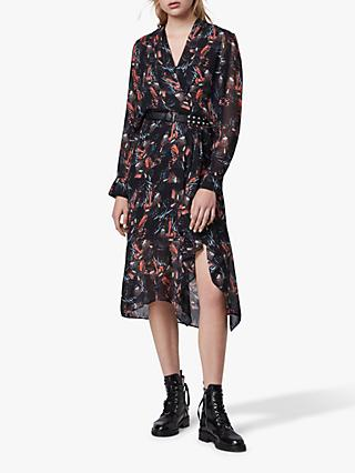 AllSaints Valero Flutter Dress, Black
