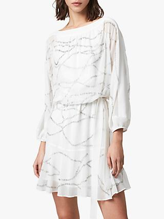 AllSaints Laci Embellished Draped Dress, Chalk White