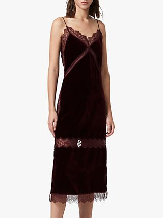 AllSaints Noa Velvet Slip Dress, Oxblood Red