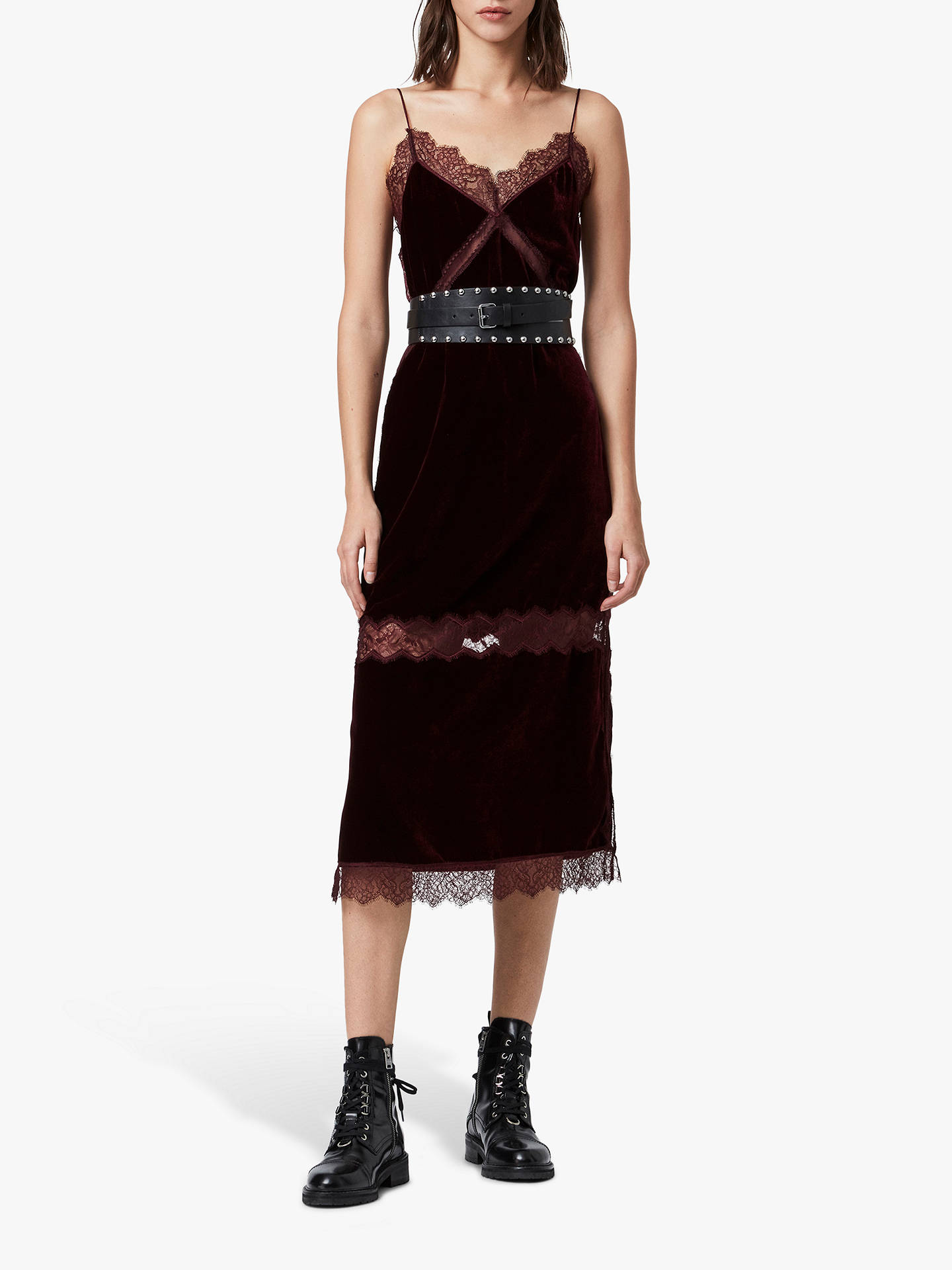 AllSaints Noa Velvet Slip Dress, Oxblood Red at John Lewis