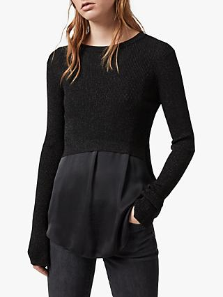 AllSaints Kowlo Shine Metallic Jumper, Black