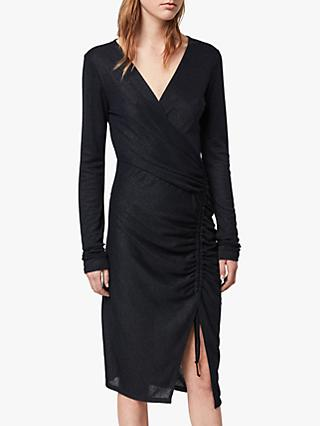 AllSaints Rina Wrap Dress, Ink Blue