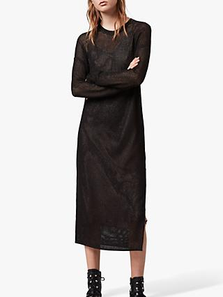 AllSaints Shine Mesh 2-in-1 Layered Dress, Black/Carmel