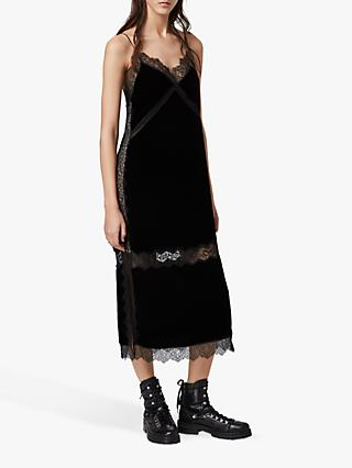 AllSaints Noa Velvet Slip Dress, Black