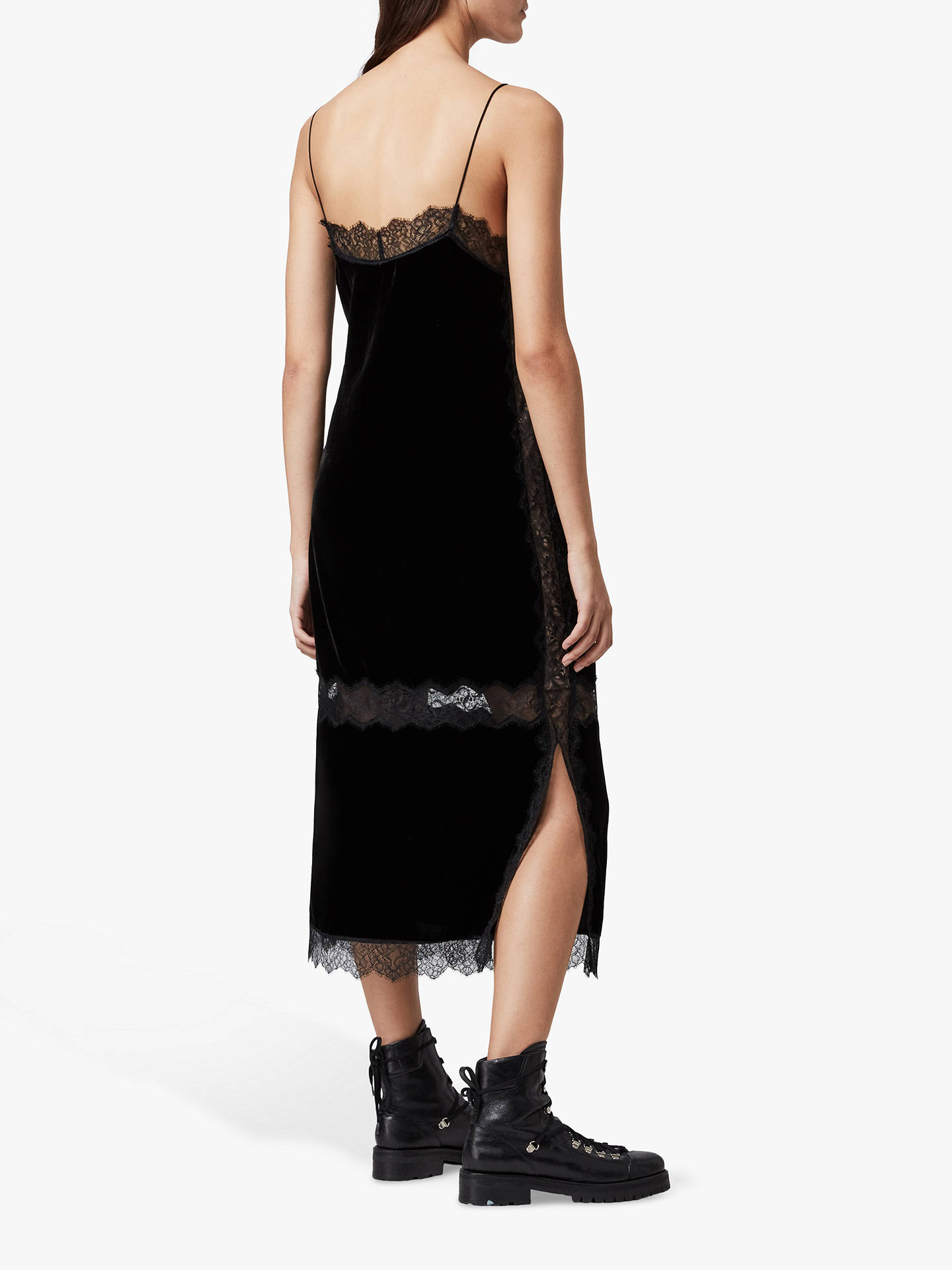AllSaints Noa Velvet Slip Dress, Black at John Lewis & Partners