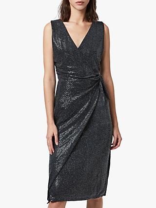 AllSaints Allegra Wrap Dress, Black