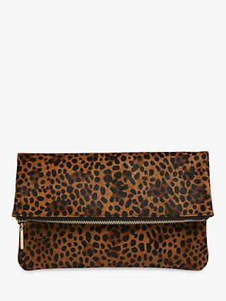 Whistles Chapel Leather Foldover Clutch Bag, Leopard
