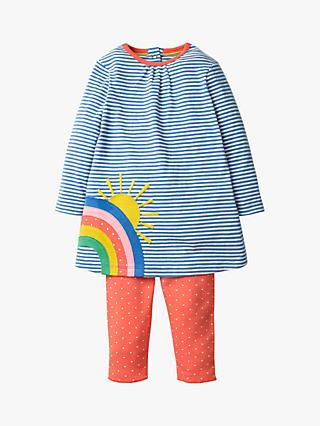 Mini Boden Baby Applique Rainbow Dress and Leggings Set, Blue/Peach