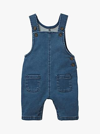 Mini Boden Jersey Denim Dungarees, Denim Blue