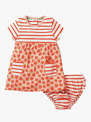 Mini Boden Baby Strawberry Hotchpotch Dress and Knickers Set, Peach Melba