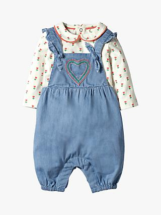 Mini Boden Baby Chambray Dungaree Play Set, Blue