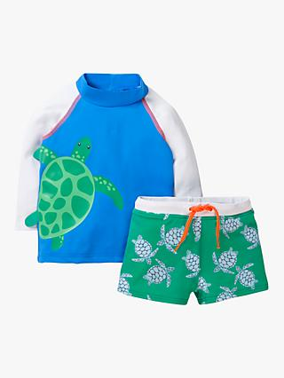 Mini Boden Baby Sun Safe Turtle Rash Vest and Shorts Set, Blue/Green