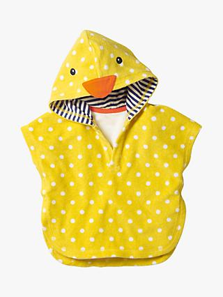 Mini Boden Baby Duckling Towelling Throw-on, Yellow