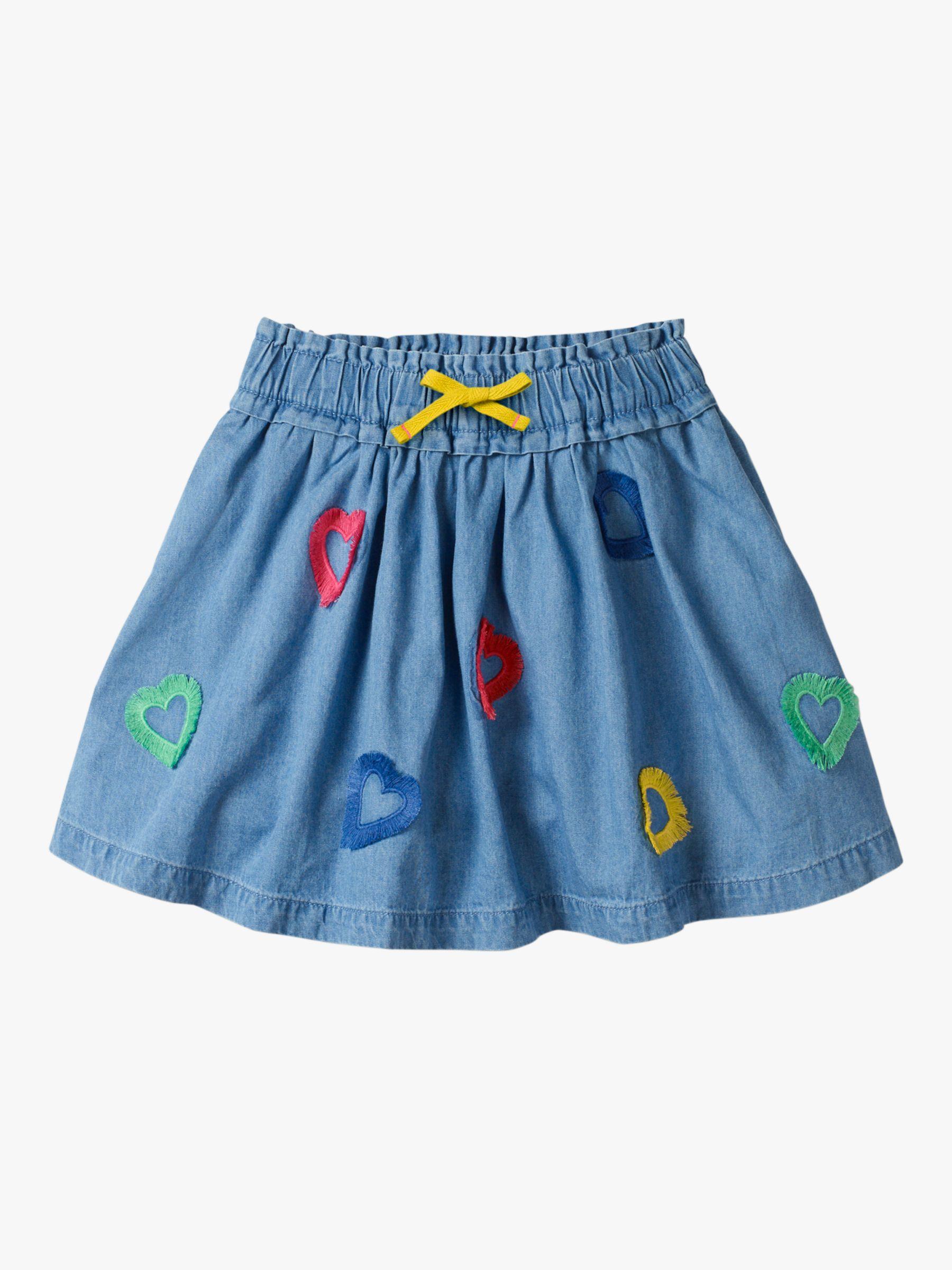 Mini Boden Mini Boden Girls' Heart Fringe Skirt, Chambray Blue