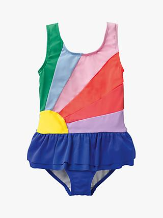 Mini Boden Girls' Applique Rainbow Swimsuit, Blue/Multi