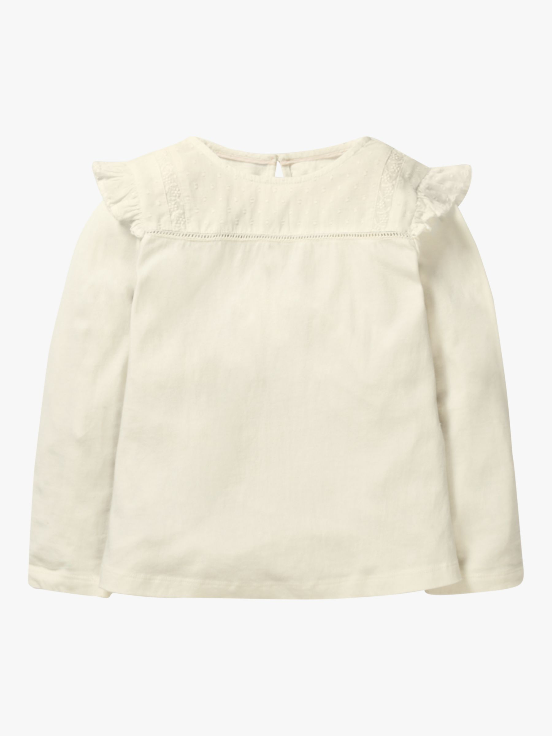 Mini Boden Mini Boden Girls' Frilly Jersey Top, Ivory