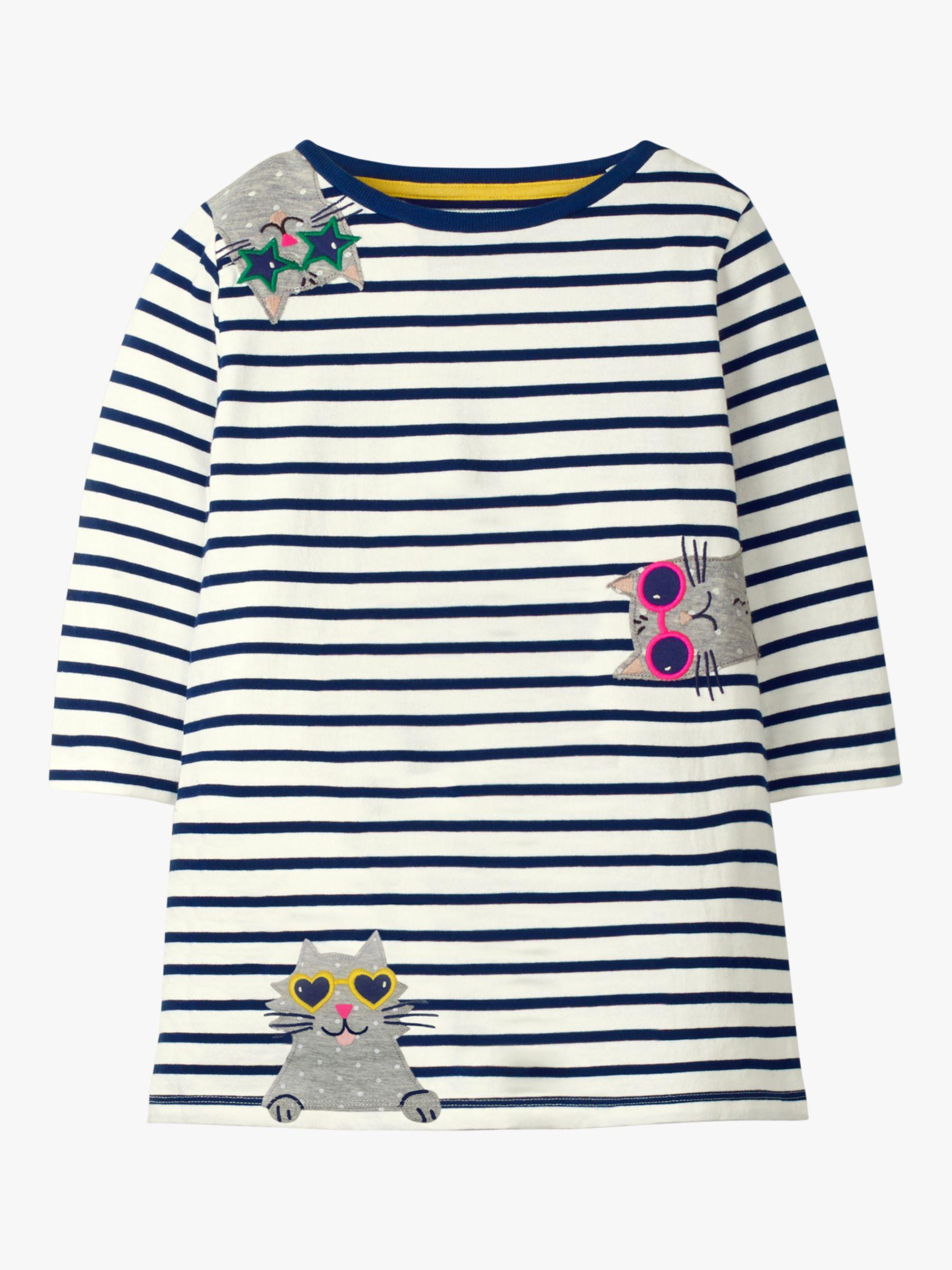 Mini Boden Mini Boden Girls' Pet Cat Applique Tunic, Navy/Ivory