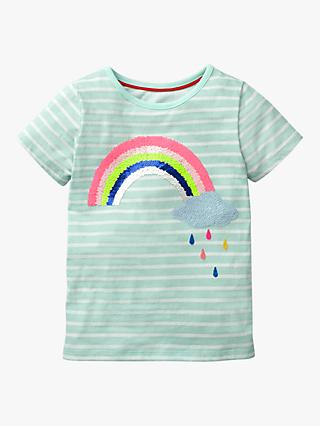 Mini Boden Girls' Sequin Rainbow and Cloud T-Shirt, Light Blue