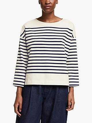 Kin Drop Shoulder Breton Top, Navy/Multi
