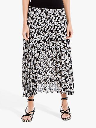 Max Studio Floral Print Pleated Skirt, Black/Blue