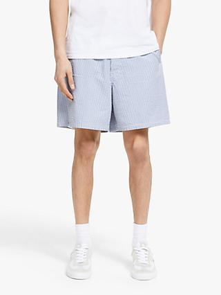 Barbour White Label Cove Seersucker Shorts, Navy/White