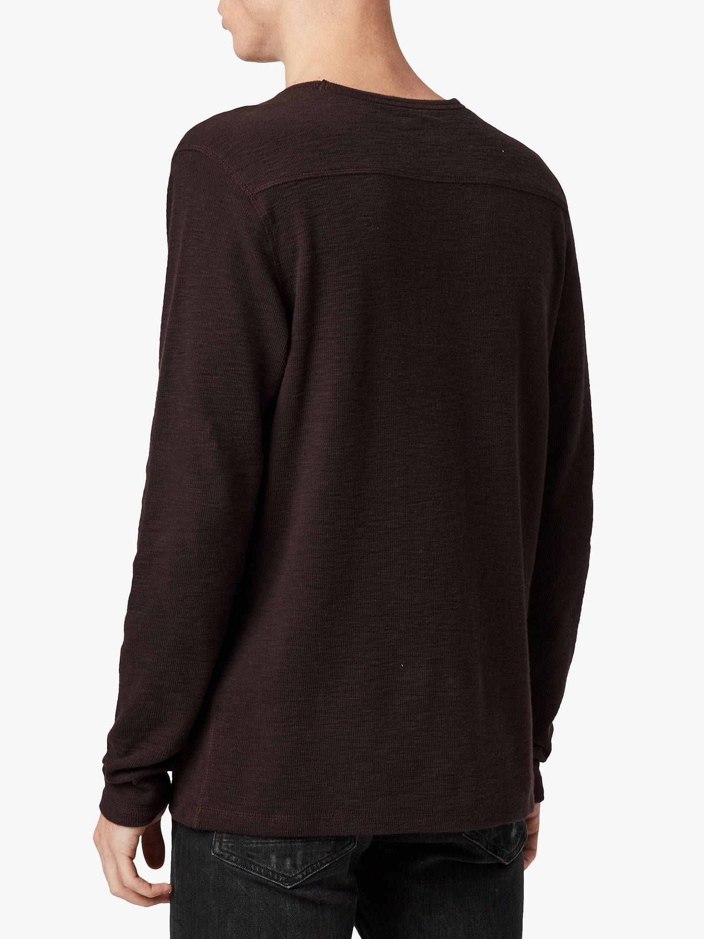 Buy AllSaints Muse Long Sleeve T-Shirt, Mahogany Red, XS Online at johnlewis.com