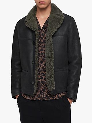 AllSaints Garrick Shearling Aviator Jacket, Black/Slate Grey