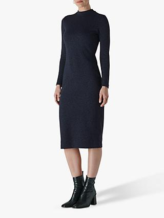 Whistles Animal Jersey Jacquard Dress, Navy
