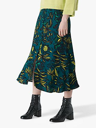 Whistles Leaves Print Skirt, Green/Multi