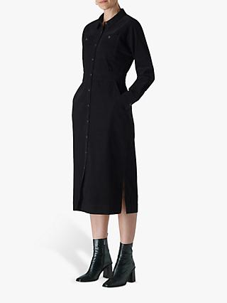 Whistles Romaine Corduroy Midi Shirt Dress, Black