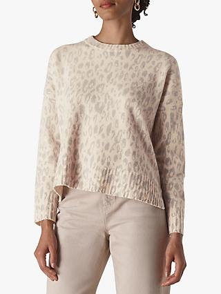 Whistles Freida Merino Wool Animal Print Jumper, Cream/Multi