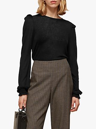 Whistles Wool Frill Cuff Top, Black