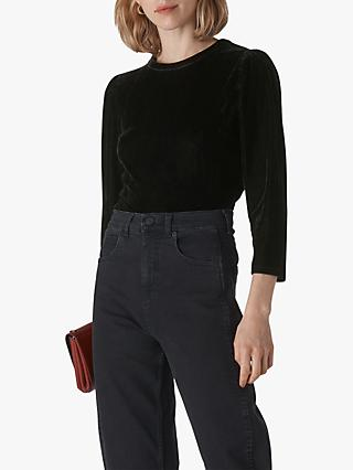 Whistles Puff Sleeve Velvet Top, Black