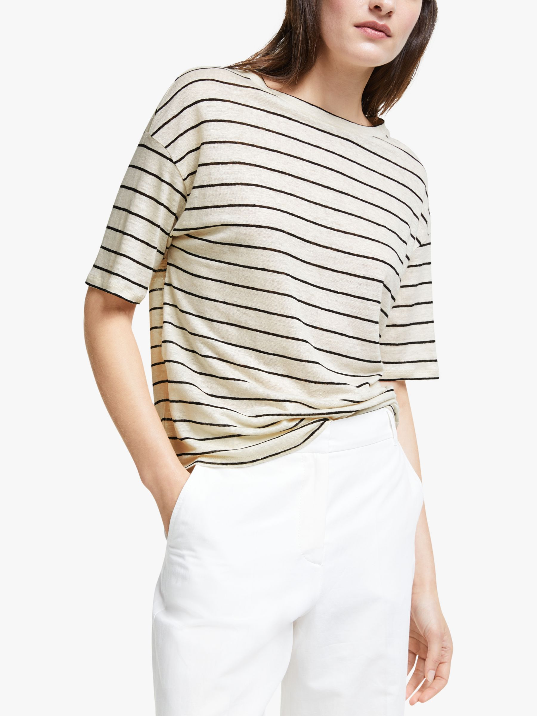 WEEKEND MaxMara Weekend MaxMara Odile Stripe Linen Jumper, Neutral/Black