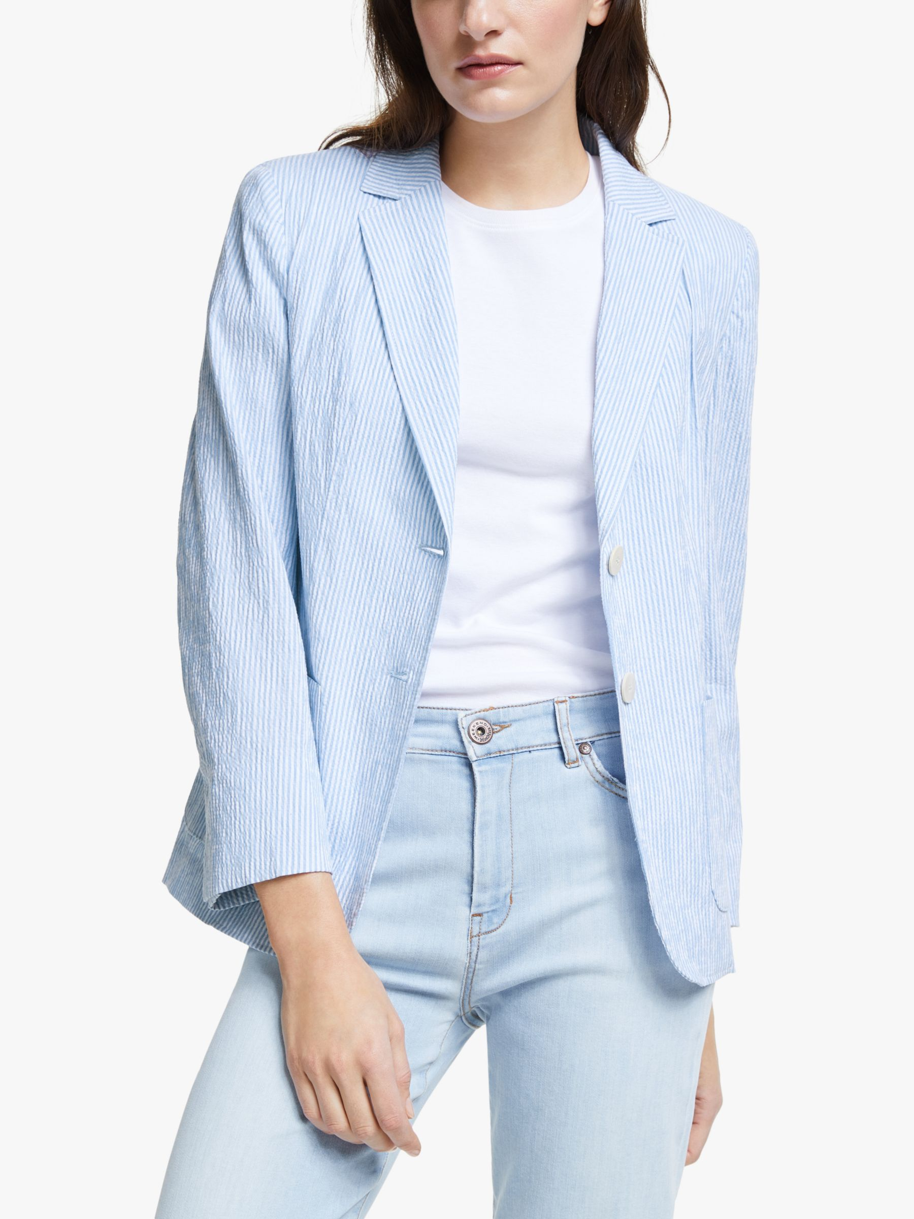 WEEKEND MaxMara Weekend MaxMara Giubilo Seersucker Jacket, Light Blue
